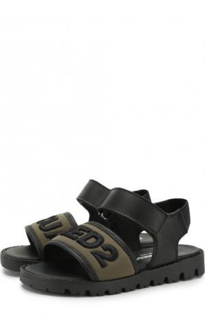Кожаные сандалии с текстильной отделкой и застежками велькро Dsquared2. Цвет: хаки