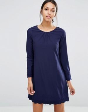 Uttam Boutique Цельнокройное платье с длинными рукавами и ажурной отделкой Bout. Цвет: темно-синий