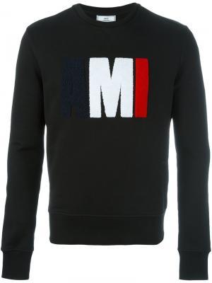 Толстовка с фактурным логотипом Ami Alexandre Mattiussi. Цвет: чёрный