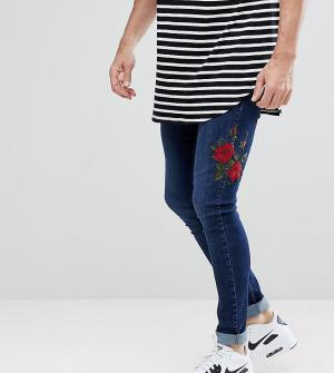 Brooklyn Supply Co. Синие облегающие джинсы с вышитыми розами Co. Цвет: синий