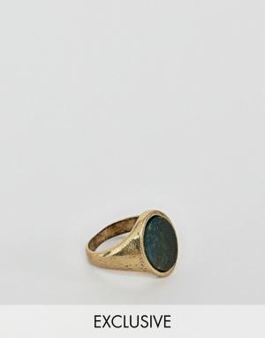 Reclaimed Vintage inspired signet ring with semi precious Stone exclus. Цвет: золотой