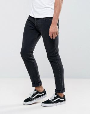 Levis Темно-серые выбеленные джинсы скинни 501. Цвет: серый