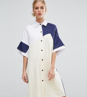 Zacro Платье-рубашка в стиле колор блок. Цвет: мульти