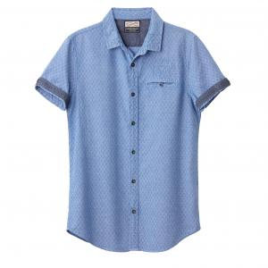Рубашка с рисунком и короткими рукавами PETROL INDUSTRIES. Цвет: синий