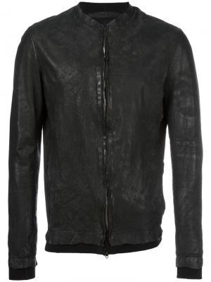Кожана куртка с потертой отделкой Salvatore Santoro. Цвет: чёрный
