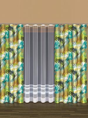 Комплект штор Haft. Цвет: зеленый, оранжевый