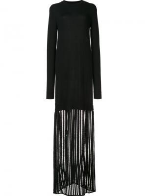 Sheer detail longsleeved dress Sally Lapointe. Цвет: чёрный