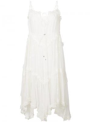 Платье асимметричного кроя с рюшами Zimmermann. Цвет: белый