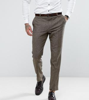Heart & Dagger Узкие твидовые брюки с узором в елочку. Цвет: коричневый