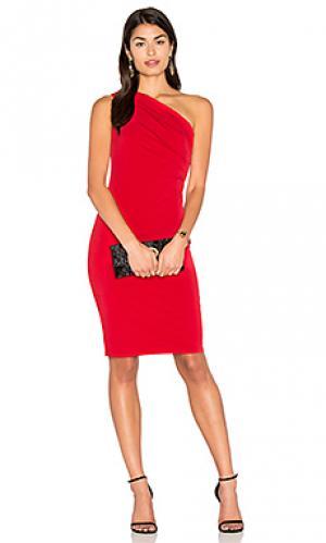 Миди платье на одно плечо elly Velvet by Graham & Spencer. Цвет: красный