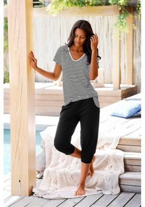 Пижама-капри H.I.S.. Цвет: бордовый в полоску, светло-серый в полоску, черный в полоску
