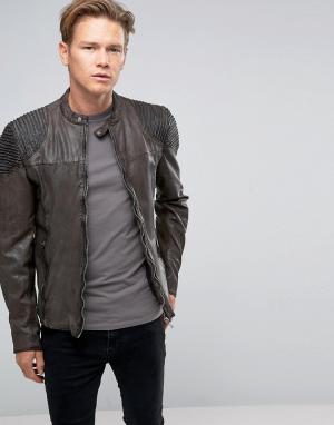 Goosecraft Темно-серая кожаная байкерская куртка с декоративными строчками на пле. Цвет: серый