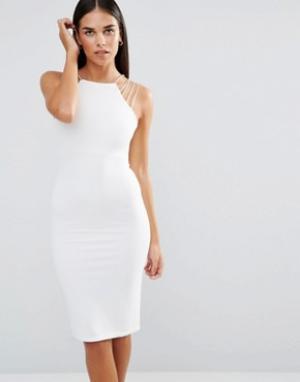 Rare Платье-футляр миди в рубчик. Цвет: белый