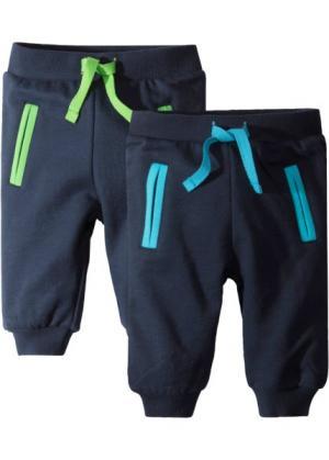 Для малышей: трикотажные брюки из органического хлопка (2 шт.) (темно-синий) bonprix. Цвет: темно-синий