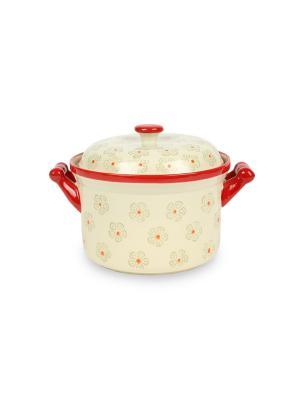Кастрюля из жаростойкой керамикм (духовка/микроволновка) 0,7 л Peterhof. Цвет: красный, белый
