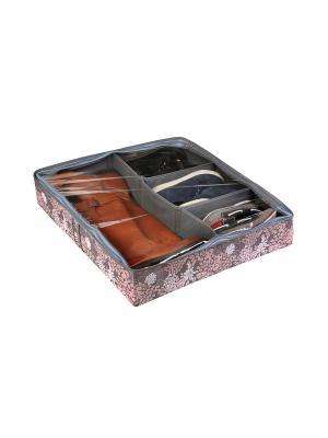 Короб для обуви, на 6 ячеек 56х52х12см Серебро 937 COFRET. Цвет: серый, белый, розовый