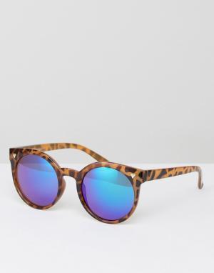 7X Солнцезащитные очки кошачий глаз с синими стеклами. Цвет: коричневый
