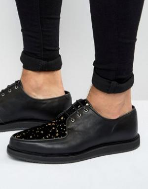 ASOS Черные кожаные туфли в золотистую крапинку. Цвет: черный