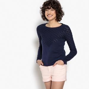 Пуловер из тонкого трикотажа с ажурными деталями MADEMOISELLE R. Цвет: бирюзовый,розовая пудра,розовый фуксия,темно-синий