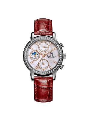 Часы Royal Crown. Цвет: красный, серебристый