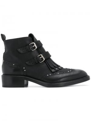 Ботинки с бахромой Sartore. Цвет: чёрный