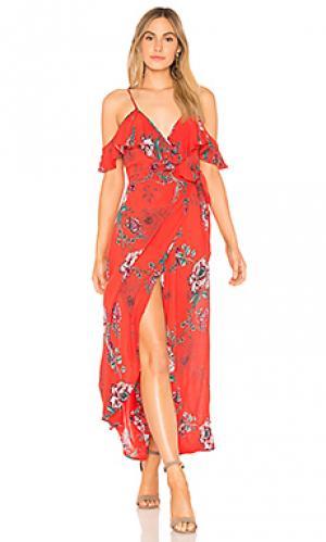 Платье с ложным запахом shadow floral Band of Gypsies. Цвет: красный