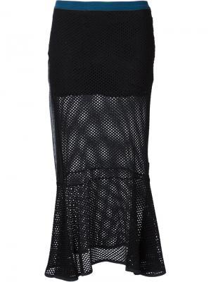 Сетчатая юбка-годе Musée. Цвет: чёрный