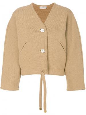 Укороченная вязанная куртка Veronique Leroy. Цвет: коричневый