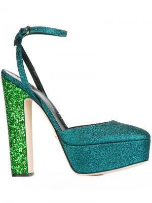 Туфли на платформе Sergio Rossi. Цвет: зелёный