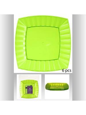 Набор тарелок квадратных пластиковых для пикника из 6 шт, 27 см JJA. Цвет: зеленый