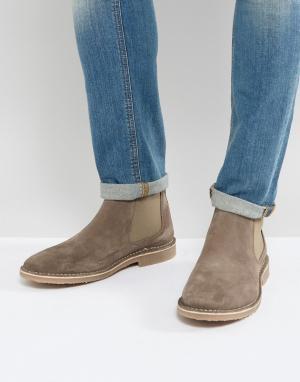 Jack & Jones Бежевые замшевые ботинки челси. Цвет: светло-бежевый