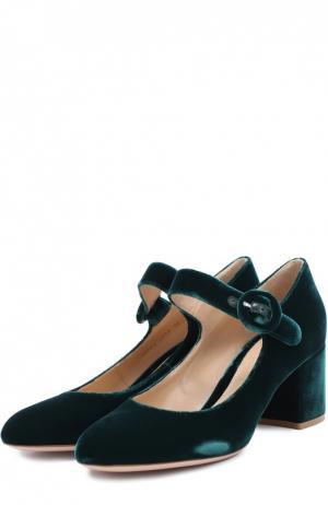 Бархатные туфли с ремешком Gianvito Rossi. Цвет: темно-зеленый