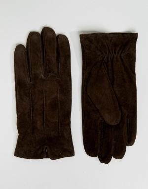 Barney's Originals Коричневые замшевые перчатки Barneys. Цвет: коричневый