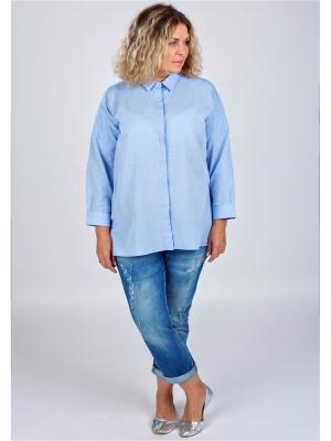 Блузка Lufashion. Цвет: голубой