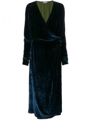 Платье с запахом из бархата Attico. Цвет: синий