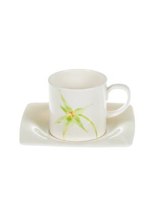 Набор 6 кофейных пар 0,100 л Зеленая орхидея Royal Porcelain. Цвет: молочный