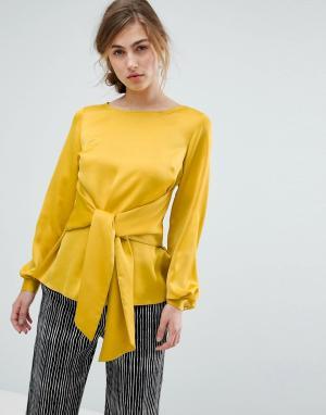 Closet London Атласная блузка с завязкой. Цвет: желтый