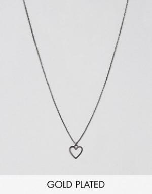 Pilgrim Ожерелье с подвеской-сердцем. Цвет: серый