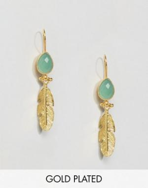 Ottoman Hands Серьги-подвески с пером и камнем. Цвет: золотой