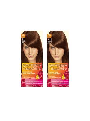Краска-уход для волос Color&Shine без аммиака, 5.35, Шоколад, 2 шт. Garnier. Цвет: коричневый