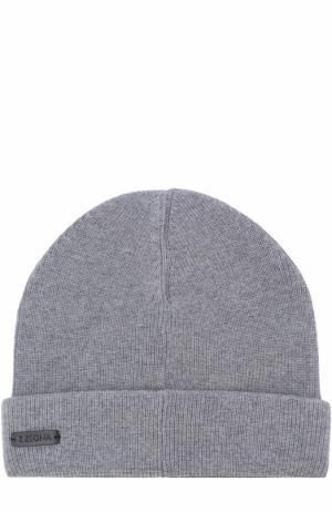 Шерстяная шапка бини Z Zegna. Цвет: светло-серый