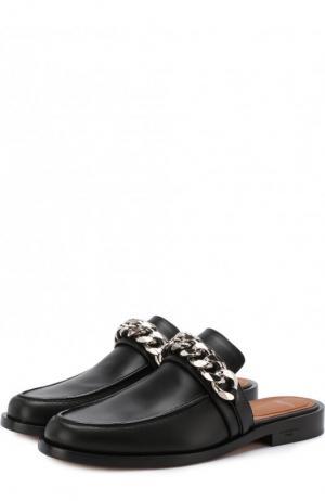 Кожаные сабо с металлической отделкой Givenchy. Цвет: черный