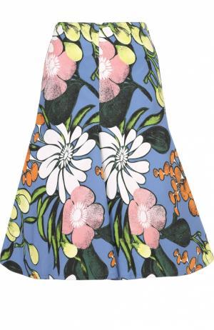 Расклешенная юбка-миди с цветочным принтом Marni. Цвет: голубой