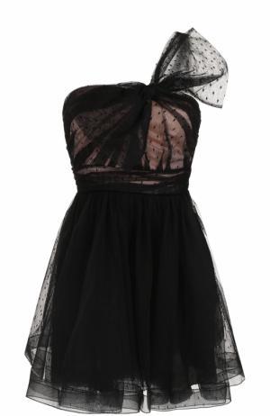 Приталенное мини-платье с бантом REDVALENTINO. Цвет: черный