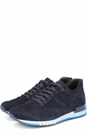 Замшевые кроссовки на шнуровке A. Testoni. Цвет: синий