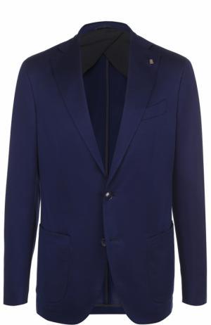 Хлопковый однобортный пиджак Sartoria Latorre. Цвет: темно-синий