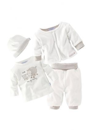 Комплект, 4 части: кофточка с длинными рукавами, брюки, кардиган + шапка KLITZEKLEIN. Цвет: телесный