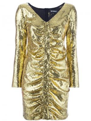 Короткое платье с пайетками Misbhv. Цвет: металлический