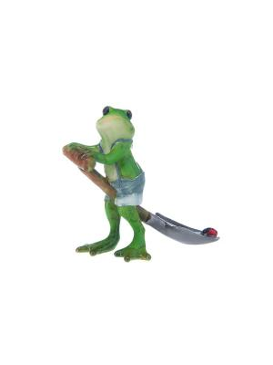Фигурка декоративная Лягушка на лопате Elan Gallery. Цвет: зеленый