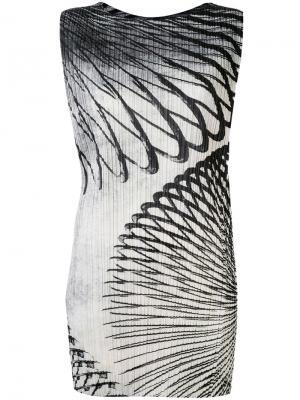 Облегающее платье с рисунком Pleats Please By Issey Miyake. Цвет: чёрный
